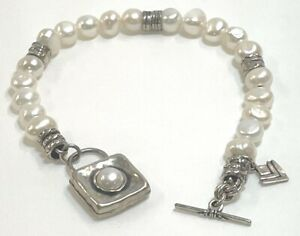 Silpada Sterling Silver 925 Freshwater Pearl Square Charm Toggle Bracelet B1439