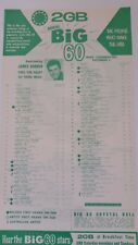 2GB BIG 60 music chart December 2-8 1961 Australia James Darren Charlie Drake