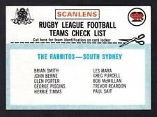 Checklist 1977 Season NRL & Rugby League Trading Cards