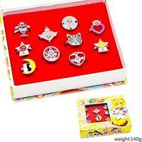 10pcs/Set Anime Sailor Moon Tsukino Usagi Finger Ring Cosplay Pendant Set Gift