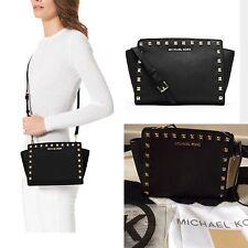 BNWT Michael Kors Studded Selma Black Medium Messenger Crossbody Bag