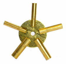 New Brass Universal Clock Key for Winding Clocks 5 Prong EVEN Numbers