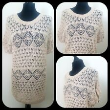 Oasis Ivory Crochet Jumper Dress Size Sml 8/10 Slouchy Boho Love Island (3)