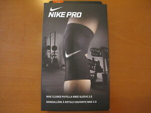 "New Nike Pro Closed Knee Sleeve 2.0 Patella Black Adult UniSex Sz Large 17""-20"""