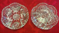 """Set of 2 Fine Clear Crystal Cut Glass Candy Bowls/Dishes Starburst Pattern 6"""""""