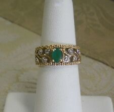 18K Gold Ornate Filigree Ring Oval Emerald & Diamonds Trellis Vine Design Size 6