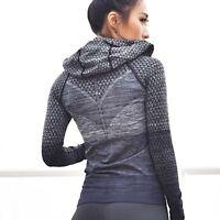 Hooded Women Running Sport Jacket With Zipper Long Sleeve Yoga Gym Workout Wear