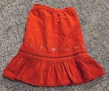 Vintage OshKosh B'gosh sz 5 Vintage Girls Skirt Embroider Floral Corduroy Cotton