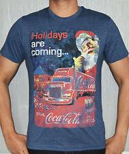 Christmas Coca-cola Santa retro Funky Holidays Coming Tshirt Tees Medium Blue