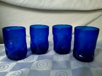 Blenko Pinched Crackle Old Fashioned Glasses Sapphire Blue Cobalt Hand Blown
