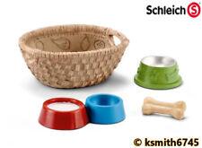 Schleich DOG & CAT FEED SET plastic toy animal food bone basket bowl * NEW 💥