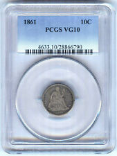 1861 SEATED LIBERTY DIME PCGS VG10