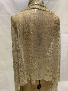 ANTIQUE ART DECO 1920s ASSUIT EGYPTIAN SILVER AND WHITE SHAWL