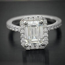 1.55 Ct Emerald Cut Halo Moissanite Engagement Wedding Ring 9K White Gold