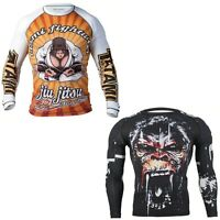 ANGRY ZEN GORILLA Men BJJ MMA Rash Guard Long Sleeve Training Compression Shirt