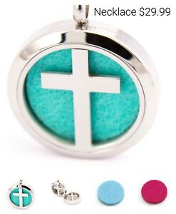 NEW Essential Oil Diffuser Necklace Locket Pendant Silver Cross & 5 Pads
