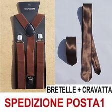 BRETELLE + CRAVATTA SLIM 5cm UOMO ADULTO REGOLABILI CRAVATTINO MARRONE CHIARO