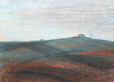Vintage impressionist pastel drawing mountain landscape