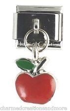 9mm Italian Charm Stainless Modular Dangle Link Red Apple Teacher School
