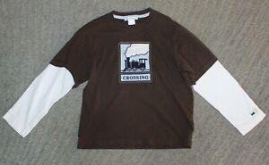 Janie and Jack Boys Long Sleeve Brown / White Train T-Shirt - Size 6 - EUC