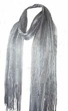 JEWELLED CRINKLE SILVER BEAD OR STONES SCARF WITH FRINGE 180 CM LONG new