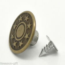 """25Sets Bronze Tone Pattern Jeans Tack Buttons 17x8mm(5/8""""x3/8"""")"""