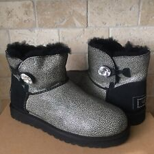 UGG Mini Bailey Button Bling Swarovski Crystal Black Stingray Boots Size 7 Women