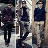 Fashion Men's Formal Business Pants Slim Fit Straight Casual Dress Trousers