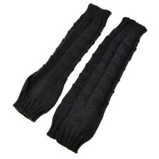 Great Gray Fashionable Knitted Knit Fingerless Gloves Arm Warmers