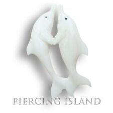 Delfin Amulett Anhänger mit Band Handarbeit Bone Knochen Maori Design PB017
