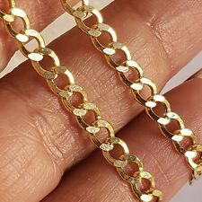 Real 10k yellow gold cuban chain necklace 4 mm 20 inches long diamond cut