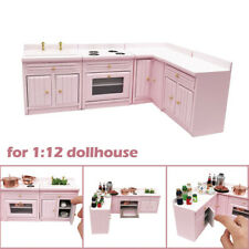 1:12 Dollhouse Miniature Furniture Wooden Kitchen Cabinet Set Combined Mini