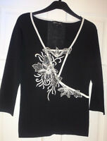 Beautiful SKY Designs Black & White Embroidered Top Size 1  EU S  UK 8