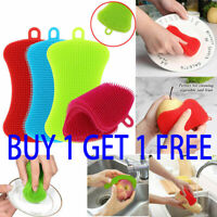 Silicone Dish Pot Sponge Cleaning Scrubber Washing Up Brush Tool Cleaner Kitchen
