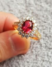 Womans Size P. Red Ruby & White Topaz 14K Yellow Gold Plated Ring