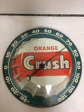 VINTAGE ADVERTISING ORANGE CRUSH ROUND METAL/GLASS THERMOMETER, 356-Y