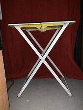 Vintage Midcentury Foldable Portable Metal Side Snack TV Table Set Of 4 W/Holder