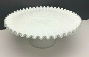 """Vintage Fenton 3510 SC Silver Crest Spanish Lace 11"""" Footed Cake Plate"""