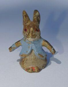 Cold painted bronze rabbit in blue jacket (Peter Rabbit?)