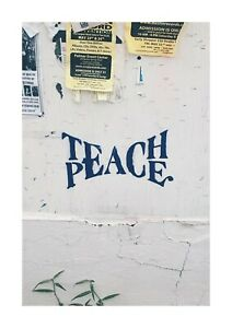Teach Peace A4 wall graffiti picture poster with choice of frame