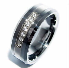 Cubic Zirconia Tungsten Band Rings for Men