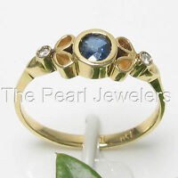 14k Solid Yellow Genuine Diamonds & Natural Blue Sapphire Bezel Setting Ring TPJ