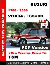 SUZUKI VITARA ESCUDO JX JLX 1988 - 1998 FACTORY SERVICE REPAIR WORKSHOP MANUAL