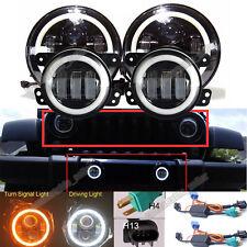 LED Halo Headlights+LED Fog Light DRL Combo Kit For Jeep Wrangler JK 2007-2017