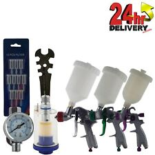 3 x Spray Gun Kit HVLP 0.8mm LVLP 1.3mm 1.7mm + Gauge & Filter in Carry Case