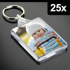 25x Premium Quality Clear Acrylic Blank Photo Keyrings Key Fobs 50 x 35 mm