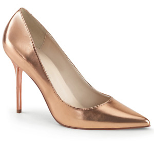 Pleaser Sexy High Heels Office Formal Pointed Toe Rose Gold Stilettos