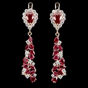 Pear Red Ruby 6x4mm Cz 14K Rose Gold Plate 925 Sterling Silver Earrings