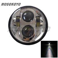 Chrome LED Motorcycle Projector Light Bulb Headlight Headlamp Custom For Harley