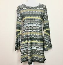 Element Women's Dress Size M Medium Split Bell Sleeves Gray Yellow Zig Zag Print